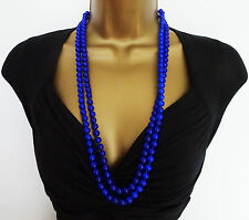 Anni'20 Flapper Stile Lungo Corda Perlina Collana Perline Di Vetro Blu Royal 1 FUNE O DBL