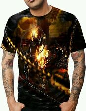 BIKERS ALLOVER PRINT MULTI COLOR GRAPHIC MOTORCYCLE SKULL T-SHIRT! GHOST RIDER!