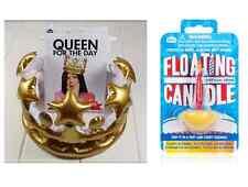 REGINA per il giorno GONFIABILE Crown & galleggiante Candela Bundle Set