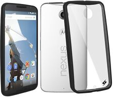 Amzer SlimGrip Border Hybrid Case Cover For Motorola Nexus 6 XT1100 - Black