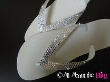 Havaianas flip flops & Cariris wedge with Swarovski Crystals Bride Wedding White