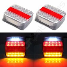 Pair Led Square Clear Lens w/ Reflector Stop Turn Signal Tail Light Trailer
