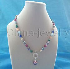 "P6047-19"" 9-11mm multicolor freshwater pearl + 14mm shell pearl pendant necklace"