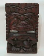 LARGE VINTAGE HAND CARVED WOODEN HAWAIIAN TIKI WALL PANEL HANGING BAR