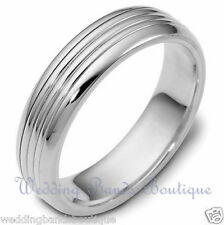 18K White Gold Wedding Domed Band Carved Lines Shiny Finish Men's Mans Ring 6mm