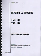 Ransomes TSR 111 and TSR 112 Reversible Plough Instruction and Parts Book