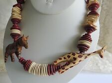 Vintage Hand Carved Wood Safari Giraffe Zibra Flat Beaded Necklace Barrel Clasp