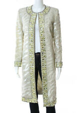 NWT NORMAN AMBROSE Ivory White Tiger Beaded Sequin Detail Jacket Sz M 15,000