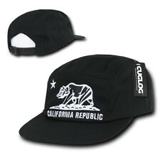 Black California Republic Racing Low Profile Jockey Running 5 Panel Cap Hat Hats