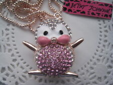 """BETSEY JOHNSON PINK CRYSTAL CUTE PENGUIN PENDANT NECKLACE  28""""  # 474"""