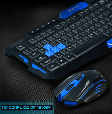 Reino Unido Stock Inalámbrico Multimedia Usb Gaming Keyboard + 2.4 ghz 6 Botones Mouse Set
