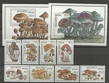 Pilze, Mushrooms - Malediven - 1234-1241, Bl.130-131 ** MNH 1986 !