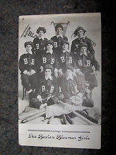 1900s The Boston Bloomer Girls Base Ball Post Card with Pennants showing