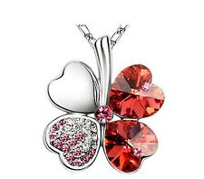 Austrian Crystal Red Heart clover Silver tone jewelry necklace pendant
