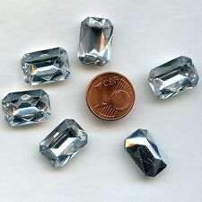 119*6 CABOCHONS ANCIENS CRYSTAL FOND CONIQUE OCTOGONE 16X11,5mm CRYSTAL