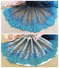 """7.5""""*1Y Embroidered Floral Tulle Lace Trim~Black+Green+Blue+Coral~Peacock Dance~"""