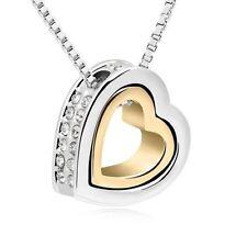 Funkelnde Doppelherz Kette Herz Anhänger SWAROVSKI ELEMENTS Silber/Gold