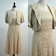 1950s Vintage Lace Dress | Crochet Dress with Cropped Jacket | Medium | Large