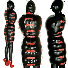 latex Rubber Black and Red Inflatable Fashion Hood Dress Tailored Size XS-XXL