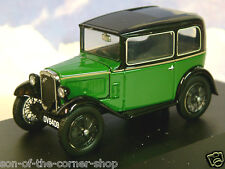 OXFORD DIECAST 1/43 AUSTIN SEVEN 7 RN SALOON IN WESTMINSTER GREEN BLACK ASS004