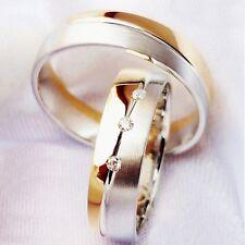 2 Trauringe Verlobungsringe Eheringe Partnerringe mit 3 DIAMANTEN & Gravur MA71