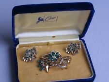 Vintage Pegasus CORO Rhinestone Trembler Brooch Earrings Jewelry Set