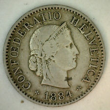 1884 Switzerland Swiss Helvetia 5 Rappen 5 Cent Coin VF
