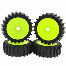 4pcs 1/8 Off Road Desert Beach Buggy Sand Tires Tyre Round Wheels Hex 17mm Green