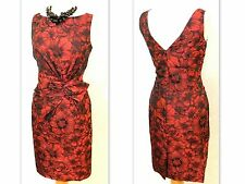 Red Black Floral Brocade ANNE KLEIN NY Bow Waist SHEATH Cocktail Dress 12 M