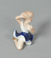 "Vintage Wallendorf Ballerina Figurine White & Blue Outfit & Gold Shoes 3"" Height"