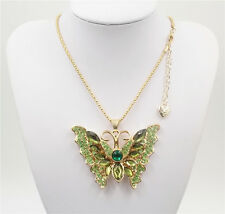 New Betsey Johnson beautiful Green butterfly crystal pendant necklace