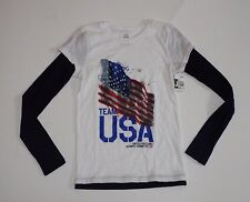 Girl's Size 10 T Shirt Top Long Sleeve White USA Team Apparel