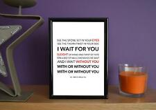 Framed - U2 - With Or Without You - Poster Art Print - 5x7 Inches