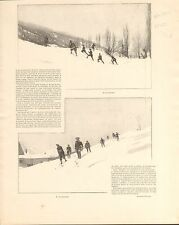 Chasseurs Alpins Alpes Skis Mont-Dauphin FRANCE GRAVURE ANTIQUE OLD PRINT 1902