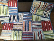 Pottery Barn Kids Twin Size Striped Red Blue Green Patchwork Quilt Pillow Sham