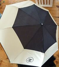 Chanel Limited Edition VIP Gift Black / Cream Umbrella Brolly & Sleeve Case