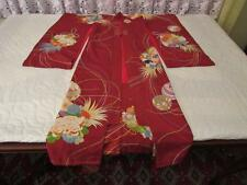 VINTAGE 1940s JAPANESE SILK KIMONO FURISODE FLOWERS VIBRANT COLORS HAND CRAFTED