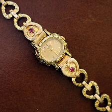 SEIKO Solid Gold Heart and Nugget Quartz Watch RUBIES! Retail $4500