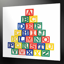 "ALPHABET BLOCKS KIDS DESIGN MODERN WALL ART CANVAS PRINT 12""x12"" FREE UK P&P"