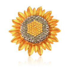 Fashion Jewelry Charming Sunflower Flower Yellow Rhinestone Crystal Brooch Pin U