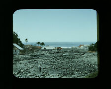 1890S HAND TINTED PHOTO ON GLASS OF BASSE POINTE, MARTINIQUE POST FLOOD