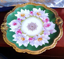 Antique Limoges Plate Hand Painted Pink Roses Artist Laurie, Gold, Comte d' 30s