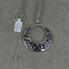 NWT Lia sophia signed jewelry black enamel pendant silver tone necklace chain