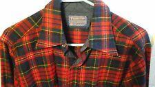 Pendleton M Wool SHIRT Red Green Navy Yellow Large Plaids USA long sleeves