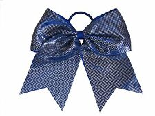 "NEW ""SPARKLE DOTS Royal Blue"" Cheer Bow Pony Tail Ribbon Hair Bows Cheerleading"