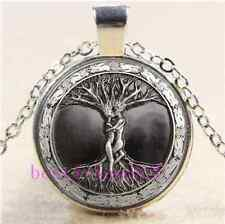 Love Tree Of Life Cabochon Glass Tibet Silver Chain Pendant Necklace#A36