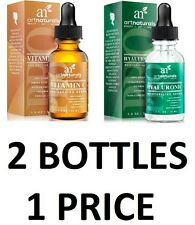 2 Bottlers! Art Naturals Organic 20% Vitamin C Serum & Hyaluronic Acid Serum Set