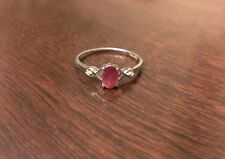 STERLING SILVER 1/2 CT OVAL NATURAL RUBY & DIAMOND RING  JULY  - SIZE 7