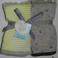 New Carter's Precious Firsts Green Star Rocket Outer Space 2 Pk Swaddle Blankets