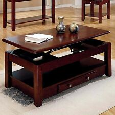 Lift Top Coffee Table Cocktail Cherry Finish Solid Wood Drawer Storage Furnitur